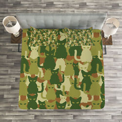 Cat Quilted Bedspread And Pillow Shams Set Kitten Silhouettes Jungle Print