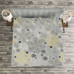 Grey Quilted Bedspread And Pillow Shams Set Style Yellow Flower Print