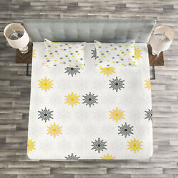 Moroccan Quilted Bedspread And Pillow Shams Set Sun Flowers Dots Print