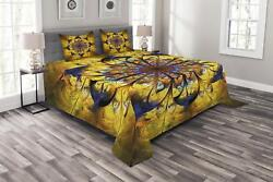Yellow And Blue Quilted Bedspread And Pillow Shams Set Mandala Asian Print