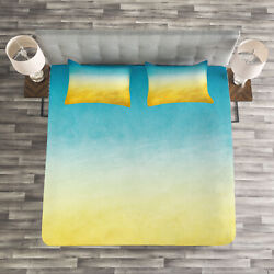 Yellow And Blue Quilted Bedspread And Pillow Shams Set Dreamy Beach Print