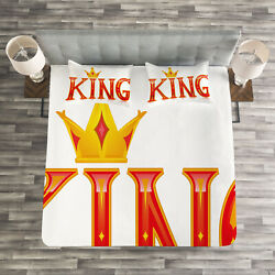 King Quilted Bedspread And Pillow Shams Set Capital Letter King Quote Print