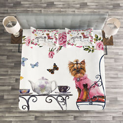 Yorkie Quilted Bedspread & Pillow Shams Set Terrier in Pink Dress Print