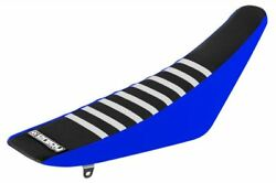 Yamaha Yzf 250 450 2006 - 2009 Ribbed Gripper Seat Cover Blue Black White Ribs