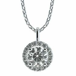 Diamond Pendant Necklace Round Halo 14k White Gold F Si1 Natural Gil Certified