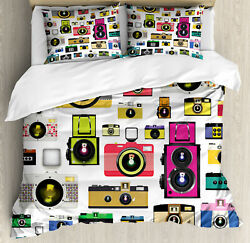 Colorful Duvet Cover Set With Pillow Shams Vintage Old Cameras Print