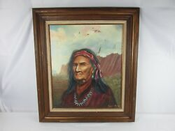 Original Batsell Moore Native American Portrait Painting Listed Artist Signed