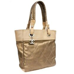 CHANEL A 34208 Paris Biarritz PM Tote Bag beige Coated canvasleather Women