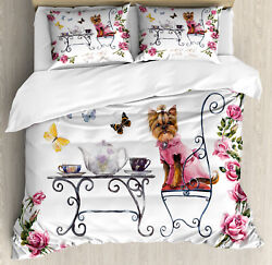 Yorkie Duvet Cover Set with Pillow Shams Terrier in Pink Dress Print