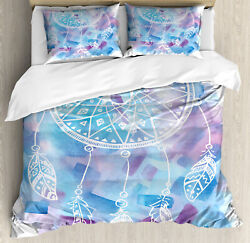 Feather Duvet Cover Set with Pillow Shams Dream Catcher Tribal Print