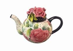 Rose Hand-painted Ceramic Teapot, By Blue Sky Ceramics, 7 Tall