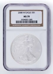 2008-w 1 Burnished Silver American Eagle Graded By Ngc As Ms70 Nice Strike
