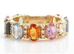6.80 Ctw Natural Multi-color Sapphire And Diamonds In 14k Solid Yellow Gold Ring