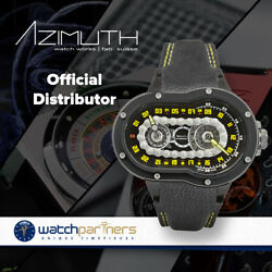 Azimuth CRAZY RIDER Automatic Watch Motorcycle Engine design Blk PVD CaseBezel