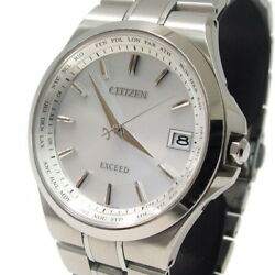 Citizen Exceed CB1030-51A Eco Drive Solar Radio Analog White Men's watch used