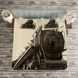 Steam Engine Quilted Bedspread And Pillow Shams Set, Antique Train Art Print