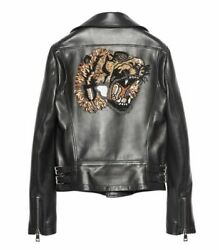 Black Embroidered Crystal Tiger Bomber Leather Bike Jacket- Newand Authentic