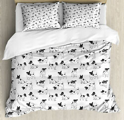 Dog Lover Duvet Cover Set with Pillow Shams Sketch Style Terriers Print