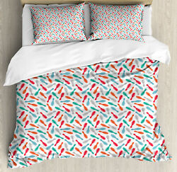 Bowling Duvet Cover Set With Pillow Shams Watercolor Skittles Print