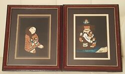 Set Of 2 Artist Signed Native American Indian Prints Collectible