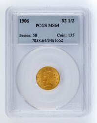 1906 Gold G2.50 Liberty Head Graded By Pcgs As Ms64 Gorgeous Quarter Eagle