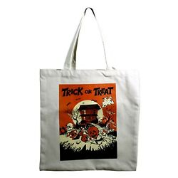 Trick Or Treat Bag Candy Halloween Retro Vintage Style Canvas Tote Bag Pumpkins $14.50