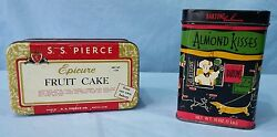 Vintage Advertising Tins Lithograph Epicure Fruit Cake And Bartonand039s Almond Kiss