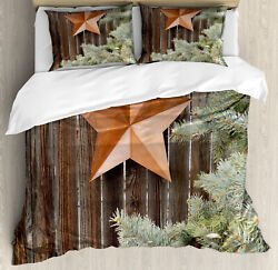Primitive Country Duvet Cover Set With Pillow Shams Star On Wood Print