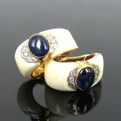 Vintage 0.20ct Diamond And 1.50ct Cabochon Cut Blue Sapphire 14k Gold Earrings