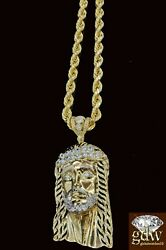 Real 10k Yellow Gold Menand039s Jesus Head Charm With 26 Inches Long Rope Chaincross
