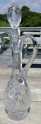 Abp European Cut Glass Crystal Ewer Decanter Matching Stopper Applied Handle