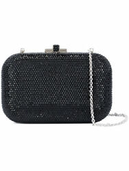 Judith Leiber Black Jet Silver Slide Lock Evening Bag Clutch Crystal NEW