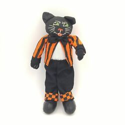 Posable Halloween Cat Wearing Orange/black Striped Suit W/weighted Feet