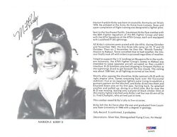 Marion Kirby Ii Signed 8x10 D Psa Dna Ac41575 Wwii Ace 5 Kills