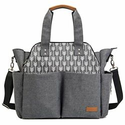 Lekebaby Large Diaper Bag Tote Satchel Messenger for Mom and Girls in Grey Ar...