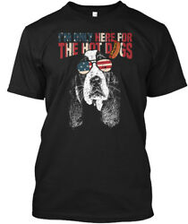 Basset Hound Funny 4th Of July Pup - I'm Only Here For Hanes Tagless Tee T-Shirt