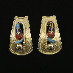21k Yellow Gold Native American Earrings Rattlesnake W/coral, Lapis, And Turquoise