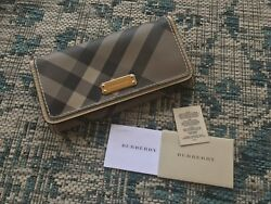 Burberry Women's House Check and Leather Continental Wallet Beige Plaid w  Tags