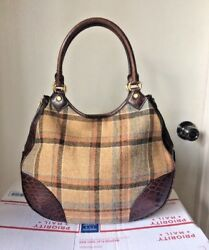 Brooks Brothers Brown Croc Embossed Leather Plaid wool Hobo shoulder bag Purse