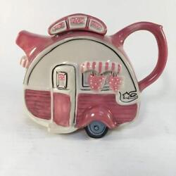 Retro Pink Camper Hand-painted Ceramic Teapot, By Blue Sky Ceramics, 6.75 Tall