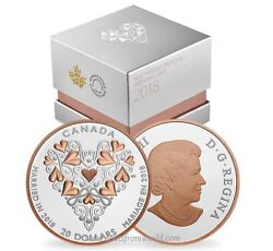 Canada 2018 20 Best Wishes On Your Wedding Day Pink Gold Plating Silver Coin