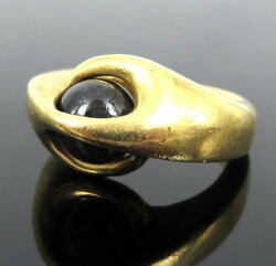 Vintage Ibkynner Sapphire Ball 20k Yellow Gold Heavy Hand Made Ring Size 7
