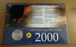 2000 Painted American Eagle Silver Dollar in Collectors Card