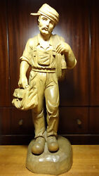 Vintage 18 Wood Carved Electrician Electrical Worker Statue Figure German Gift