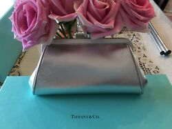 Tiffany & Co. Silver Metallic Leather Clutch Evening Purse Bag NWOT