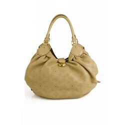 Authentic Louis Vuitton Biege Monogram Mahina Perforated Leather L Hobo Hand Bag