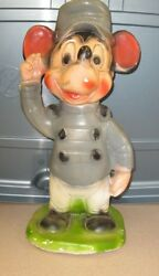 Vintage Chalk Mickey Mouse Bank 16 Tall