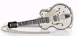 Yy Judith Leiber White Falcon Black Guitar Silver Crystal Evening Bag NEW