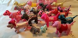 Victoria's Secret Pink Dog Lot Of 20 Dogs  Stuffed Animal Makeup bags New