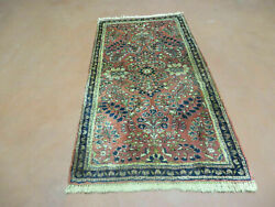 2and039 X 4and039 Antique Hand Made Fine India Floral Oriental Wool Rug Vegetable Dye Nice